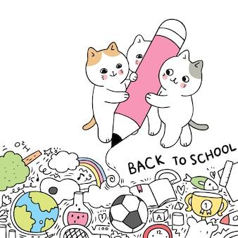 Dessin animé mignon retour à l'école chat écrit