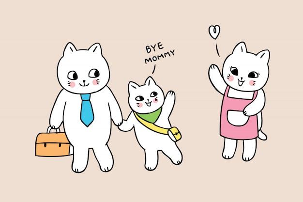 Dessin animé mignon retour à l'école des chats de famille