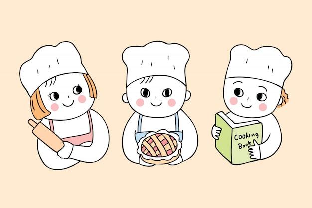 Dessin animé mignon retour à l'école cours de cuisine