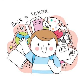 Dessin animé mignon retour à l'école et à la fille.