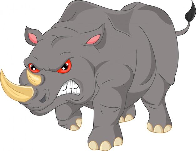 Dessin animé mignon rhino en colère