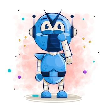 Dessin animé mignon robot pleurer, illustration