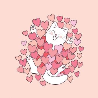 Dessin animé mignon saint valentin chat et coeur.