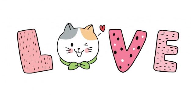 Dessin animé mignon saint valentin chats blancs texte amour vecteur.