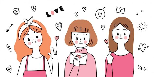 Dessin animé mignon saint valentin fille et vecteur d'actions d'amour.