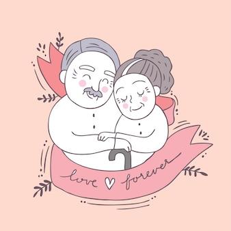 Dessin animé mignon saint valentin vieux couple et vecteur de l'amour.