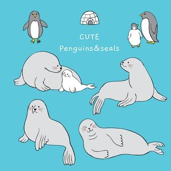 Dessin animé mignon sceau et vecteur de pingouin.