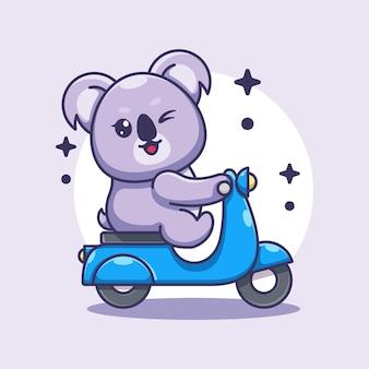 Dessin animé mignon scooter koala équitation