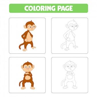 Dessin animé mignon singe, livre de coloriage