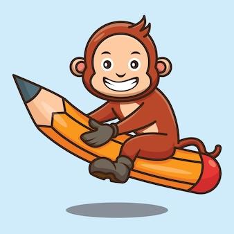Dessin animé mignon singe retour à l'école à cheval avec un crayon