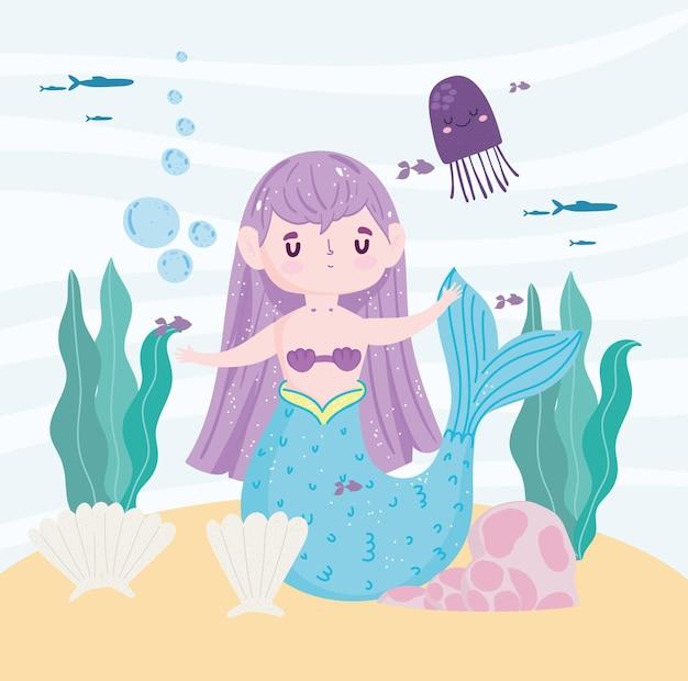 Dessin animé mignon sirène et vie marine