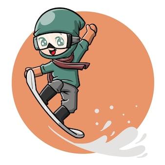 Dessin animé mignon de snowboarder