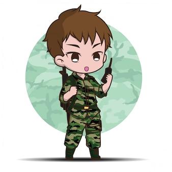 Dessin animé mignon soldat de l'armée.