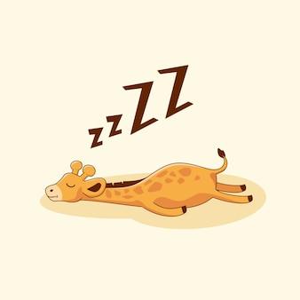 Dessin animé mignon sommeil girafe paresseux