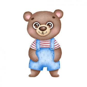 Dessin animé mignon souriant ours brun en salopette bleue