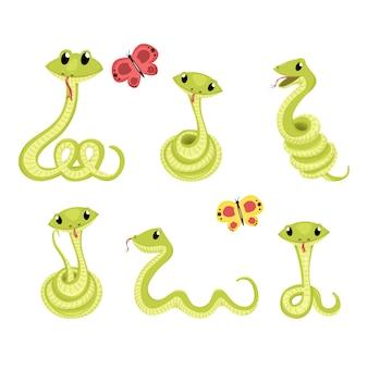 Dessin animé mignon sourire vert illustration animale de vecteur serpent.