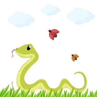 Dessin animé mignon sourire vert serpent