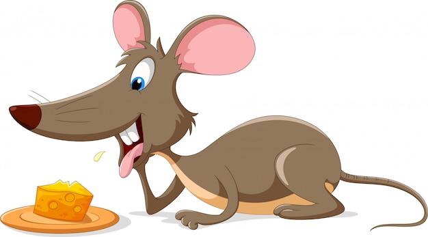 Dessin animé mignon de souris avec une tranche de fromage
