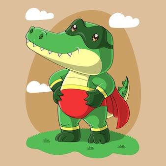 Dessin animé mignon super héros de crocodile, dessiné à la main