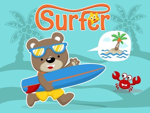 Dessin animé mignon surfeur avec planche de surf et un ami