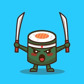 Dessin animé mignon sushi avec épée isolée sur bleu