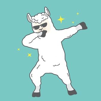 Dessin animé mignon tamponnant la conception de vecteur de lama pour la fête
