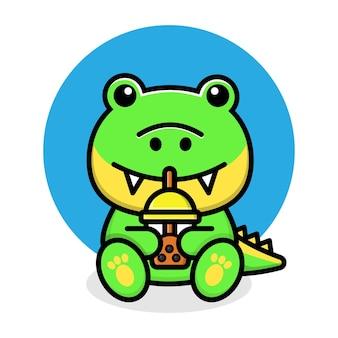 Dessin animé mignon de tasse de thé de bulle de boisson de crocodile de boba