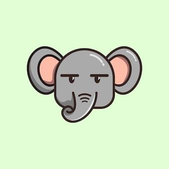 Dessin animé mignon tête éléphant illustration vecteur premium