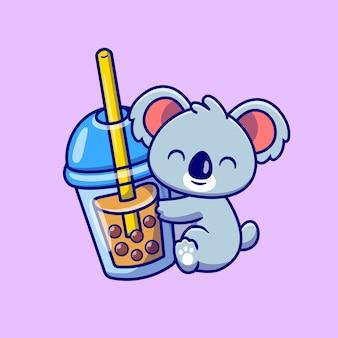 Dessin animé mignon de thé au lait koala hug boba