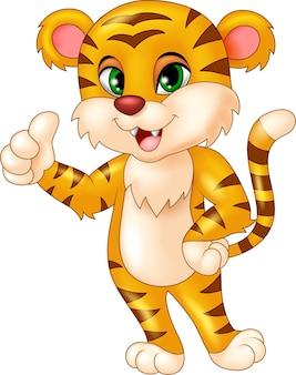 Dessin animé mignon de tigre donnant les pouces vers le haut