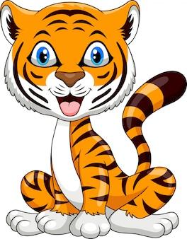 Dessin animé mignon tigre