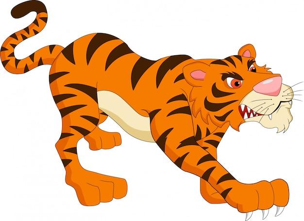 Dessin animé mignon de tigre