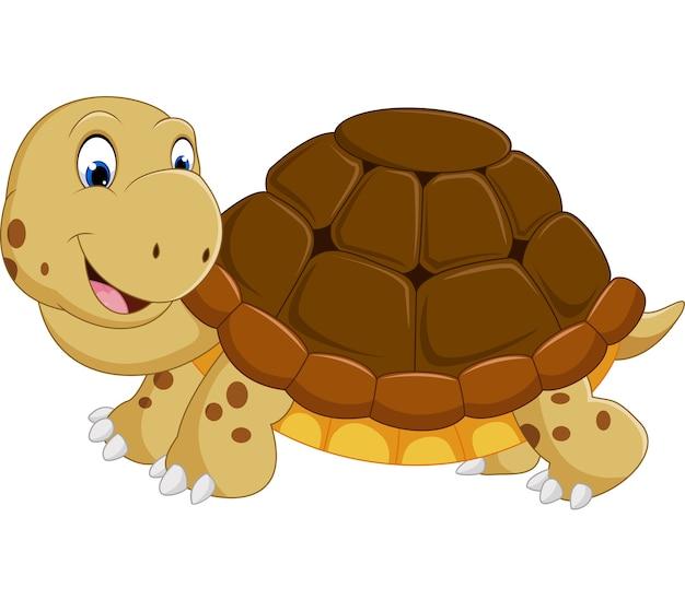 Dessin animé mignon tortue en cours d'exécution