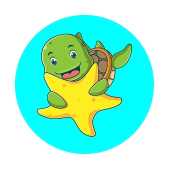 Dessin animé mignon tortue étreignant une étoile de mer