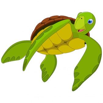 Dessin animé mignon de tortue de mer sur blanc