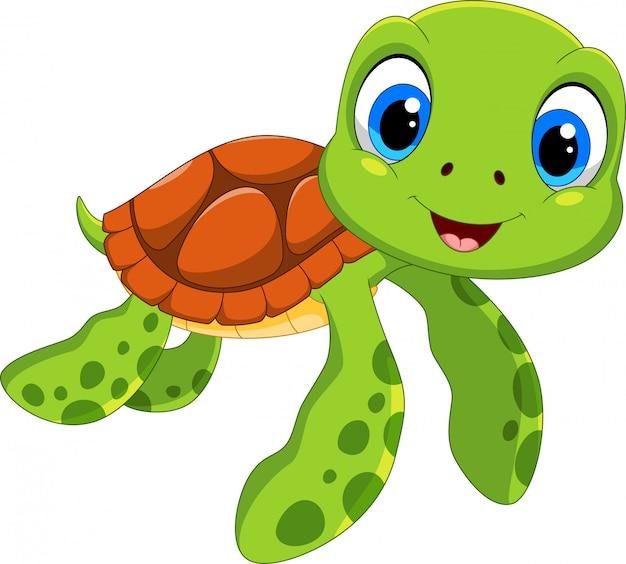 Dessin animé mignon de tortue de mer