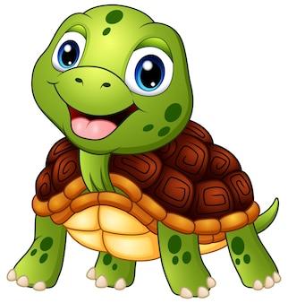 Dessin animé mignon tortue souriant