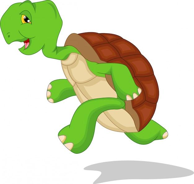 Dessin animé mignon de tortue verte