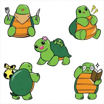 Dessin animé mignon de tortue.