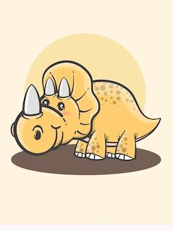 Dessin animé mignon tricératops