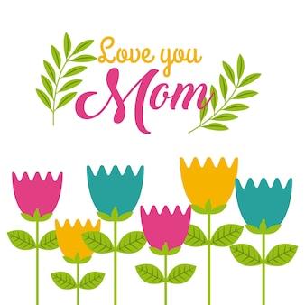 Dessin animé mignon tulipes fleurs t'aime maman