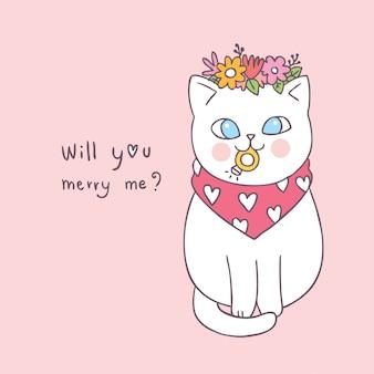 Dessin animé mignon valentin chat et vecteur de l'anneau.