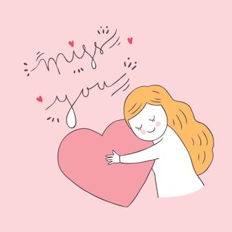 Dessin animé mignon valentin femme et vecteur de l'amour.