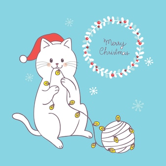 Dessin animé mignon vecteur adorable chat et fil de noël.