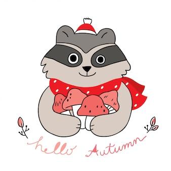 Dessin animé mignon vecteur d'automne, de raton laveur et de champignons.