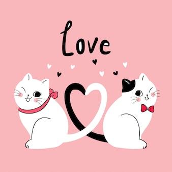 Dessin animé mignon vecteur de chats couple saint valentin.