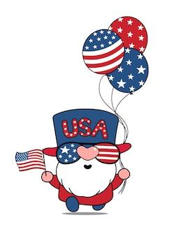 Dessin animé mignon vector american usa gnome 4 juillet illustration de la fête de l'indépendance