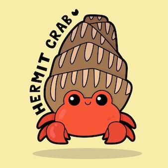 Dessin animé mignon de la vie marine avec le bernard-l'ermite de vocabulaire