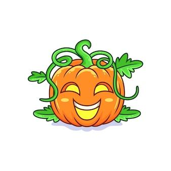 Dessin animé mignon visage citrouille halloween