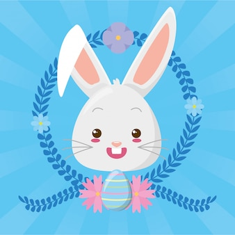 Dessin animé mignon visage de lapin